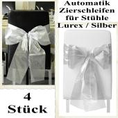 Schleifen, Deko-Schleifen, Zierschleifen, Automatik-Ziehschleifen für Stühle, Lurex Silber