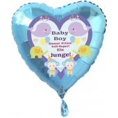 Herzluftballon Türkis aus Folie mit Helium zu Geburt und Taufe, Baby Party: Baby Boy - Ein Junge!