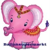 Großer Baby Elefant, pink, Luftballon aus Folie mit Ballongas