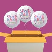 Baby Party Luftballons mit Helium, 3 Stück im Karton zur Baby Shower Party. Da freut sich das Baby!