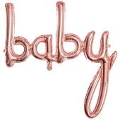 Rosegoldener Luftballon aus Folie Baby Schriftzug, Folienballon zur Luftbefüllung