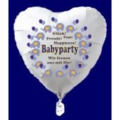 Babyparty Luftballon, Herzluftballon in Weiß mit Ballongas Helium, Babyparty Boy, Junge