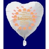 Babyparty Luftballon, Herzluftballon in Weiß mit Ballongas Helium, Babyparty Girl, Mädchen