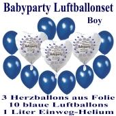 "Babyparty Luftballonset Baby Boy, 3 Herzluftballons aus Folie ""Babyparty Boy"" 10 blaue Luftballons mit dem 1 Liter Helium-Einwegbehälter"