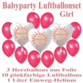 """Babyparty Luftballonset Baby Girl, 3 Herzluftballons aus Folie """"Babyparty Girl"""" 10 Luftballons in Pinkfarben mit dem 1 Liter Helium-Einwegbehälter"""