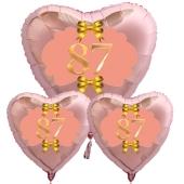 Ballon-Bouquet Herzluftballons aus Folie, Rosegold, zum 87. Geburtstag, Rosa-Gold