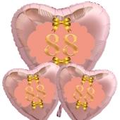 Ballon-Bouquet Herzluftballons aus Folie, Rosegold, zum 88. Geburtstag, Rosa-Gold