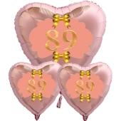Ballon-Bouquet Herzluftballons aus Folie, Rosegold, zum 89. Geburtstag, Rosa-Gold