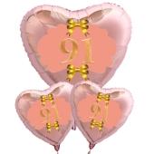 Ballon-Bouquet Herzluftballons aus Folie, Rosegold, zum 91. Geburtstag, Rosa-Gold