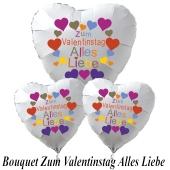 Ballon-Bouquet Herzluftballons aus Folie, Zum Valentinstag Alles Liebe