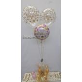 Geburtstags Ballon-Bouquet Gold und Pink Dots