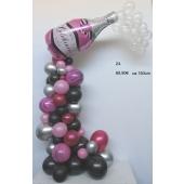 Wunderschöne Luftballon-Deko mit Sektflasche in Pink-Silber-Schwarz