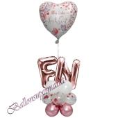 Stilvolle Ballondeko, Alles Liebe zur Hochzeit Mauve mit den Anfangsbuchstaben der Brautleute, Dekobeispiel
