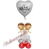 Stilvolle Ballondeko, Just Married Hochzeitspaar Frauen