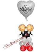 Stilvolle Ballondeko, Just Married Hochzeitspaar Männer