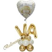 Stilvolle Ballondeko, Just Married Weiß-Gold mit den Anfangsbuchstaben der Brautleute, Dekobeispiel