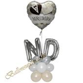 Stilvolle Ballondeko, Mr & Mrs Wedding Couple mit den Anfangsbuchstaben der Brautleute, Dekobeispiel