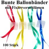 Schnellverschlüsse für Luftballons mit Band, bunt gemischt
