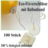 Öko-Ballonverschlusse mit Bändern, 100 Stück