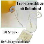 Öko-Ballonverschlüsse mit Bändern, 50 Stück