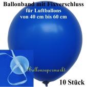 Ballonband mit Fixverschluss, für Luftballons von 40 cm bis 60 cm, 10 Stück
