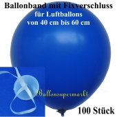 Ballonband mit Fixverschluss, für Luftballons von 40 cm bis 60 cm, 100 Stück