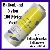 Ballonband Nylon, 100 Meter Rolle, extrem reißfest, für Luftballons, Ballongirlanden und Ballondekoration