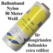 Ballonband Nylon, 50 Meter Rolle, extrem reißfest, für Luftballons, Ballongirlanden und Ballondekoration