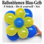 Ballonblumen-Blau-Gelb-5-Stueck-Do-it-yourself-Set