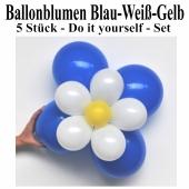 Blumen aus Luftballons, Ballonblumen-Set, Blau-Weiß-Gelb, 5 Stück