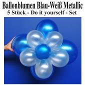Blau-Weiße Metallic Ballonblumen, Ballondeko Blumen aus Luftballons zum Selbermachen, Set, 5 Stück