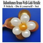 Blumen aus Luftballons, Ballonblumen-Set, Braun-Weiß-Gold-Metallic, 5 Stück