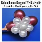 Ballonblumen aus Luftballons, Burgund-Weiß Metallic, Set aus 5 Stück