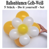 Ballonblumen aus Luftballons, Gelb-Weiß, Set aus 5 Stück