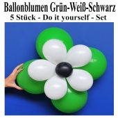 Blumen aus Luftballons, Ballonblumen-Set, Grün-Weiß-Schwarz, 5 Stück