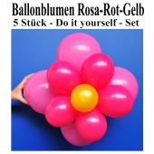 Ballonblumen-Rosa-Rot-Gelb-5-Stueck-Do-it-yourself-Set