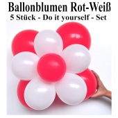Ballonblumen-Rot-Weiß-5-Stueck-Do-it-yourself-Set