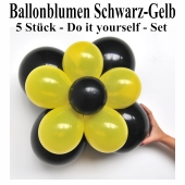 Ballonblumen-Schwarz-Gelb-5-Stueck-Do-it-yourself-Set