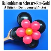 Blumen aus Luftballons, Ballonblumen-Set, Schwarz-Rot-Gold, 5 Stück