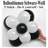 Ballonblumen aus Luftballons, Schwarz-Weiß, Set aus 5 Stück