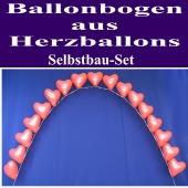 Ballonbogen aus roten Herzluftballons mit Helium, Selbstbau-Set zur Hochzeit