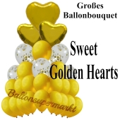 Ballon-Bouquet Sweet Golden Hearts mit 27 Luftballons
