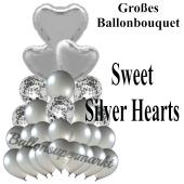 Ballon-Bouquet Sweet Silver Hearts mit 27 Luftballons