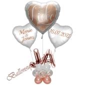Individuelle Ballondeko, Alles Liebe zur Hochzeit mit den Namen der Brautleute und Hochzeitsdatum, Dekobeispiel