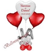 Individuelle Ballondeko, Hearts mit den Namen der Brautleute und Hochzeitsdatum, Dekobeispiel