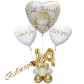 Individuelle Ballondeko, Just Married mit den Namen der Brautleute und Hochzeitsdatum, Dekobeispiel