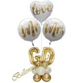 Stilvolle Ballondeko, Mr & Mrs in Love mit den Anfangsbuchstaben der Brautleute, Dekobeispiel