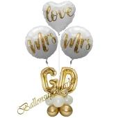 Stilvolle Ballondeko, Mrs & Mrs in Love mit den Anfangsbuchstaben der Brautleute, Dekobeispiel