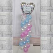 Ballondeko Danke Mama. Herzluftballon in Silber mit Vintage Blumenkranz auf einer Ballondeko-Säule