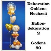 Ballondekoration Goldene Hochzeit 2, 50. Jubiläum, Goldene 50